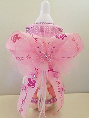 (Baby Shower Pink Butterfly Centerpiece Fillable Bottle Large 14