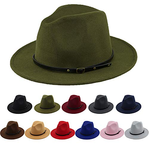 Women Fedora Hat Elegant 100% Wool Felt Lady Wide Brim Classic Pork Pie Hat Olive -