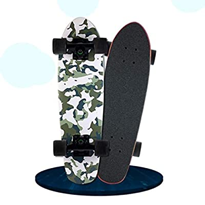 HNaGRDMMP Small Fish Plate Skateboard Complete Double Kick Trick Skateboards Cruiser Kids Beginners Longboard with Maple Deck Adult Boys Girls Skate Board, 66cmx18.2cm (Color : B) : Sports & Outdoors