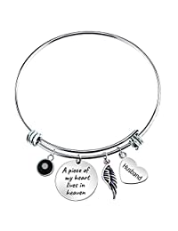 """Paris Selection Husband Memorial Bangle Bracelet A Piece of My Heart Lives in Heaven, 2.5"""""""
