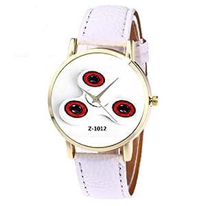 Yoyorule Retro Design Leather Band Analog Alloy Quartz Wrist Watch (White)