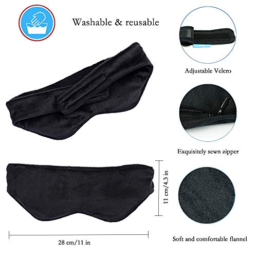 EVQ Weighted Eye Mask for Sleeping Heatable and Freezable Weighted Eye Pillow with Silica Beads for Women and Men to Relief Stress,Headache,Migraine,Sinus Pain (Black)