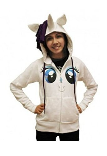 My Little Pony Rarity Face Juniors White Costume Hoodie with Mane & Horn (Juniors Medium)