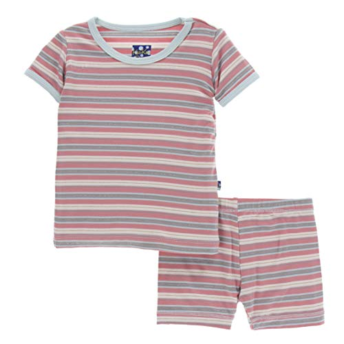 (Kickee Pants Little Girls Print Short Sleeve Pajama Set with Shorts - India Dawn Stripe,)