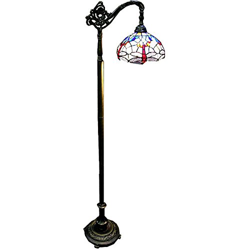 Warehouse of Tiffany WHT009 Dragonfly Reading Floor Lamp with Stain Glass, Elegant Blue