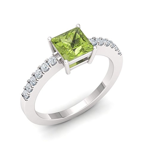 Diamondere Natural and Certified Princess Cut Peridot and Diamond Engagement Ring in 14K White Gold | 1.04 Carat Engagement Ring for Women, US Size 7