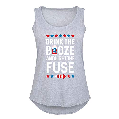 (HARPER & QUINN Drink The Booze and Light The Fuse Patriotic Memorial Day - Ladies Plus Size Tank Athletic Heather)