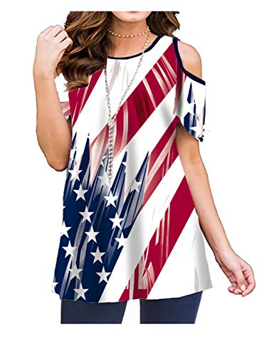 Luranee Patriotic Shirts for Women, American Flag Graphic Print Cold Shoulder Tops Crew Neck Cotton Blend Petite 4th July Celebrating Independence Day Clothes Medium