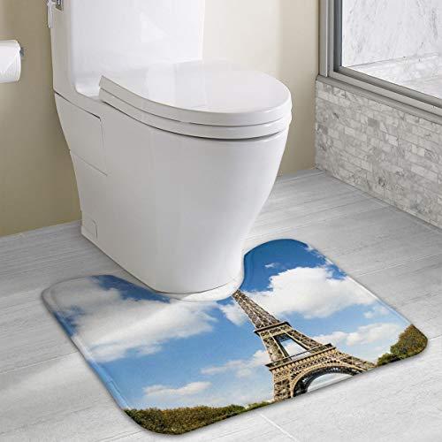 Warm-Tone Eiffel Tower Memory Foam Contour Bath Rugs Non-Slip Soft and Absorbent U-Shaped Bathroom Bath Mats Rug Carpet
