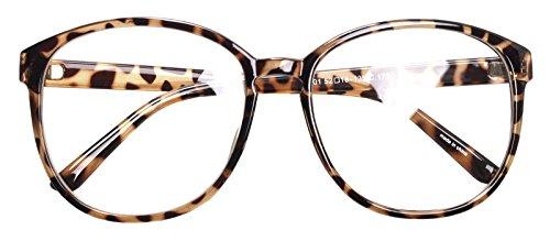 Oversized Big Round Horn Rimmed Eye Glasses Clear Lens Oval Frame Non Prescription (Tortoise 89012)