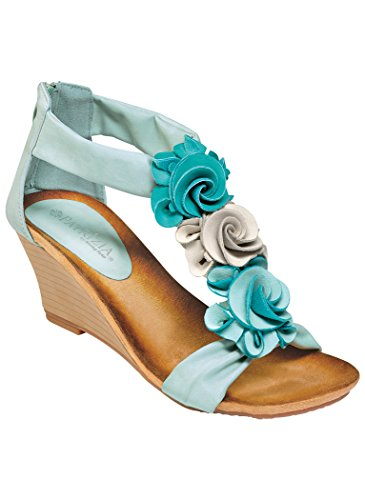 Sandals Dress Womens Bouquets (PATRIZIA Women's Adult Harlequin Wedge 38M (7.5-8) US Women/Aqua)