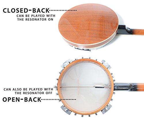 5 String Resonator Banjo with 24 Brackets | Closed Back and Geared 5th Tuner | Resoluute - Image 1