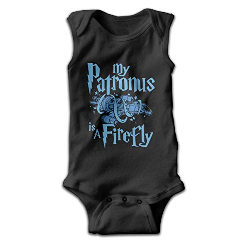 My Patronus is A Firefly Cute Baby Girls Boys Sleeveless Playsuit Outfit Clothes Black