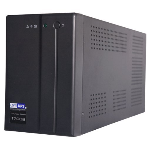 OPTI-UPS TS1700B (1500va, 900w) Line Interactive UPS Battery Backup with AVR Surge Protection – 5 Outlets (Black) – Uninterruptible Power Supply (RS232 / Serial Port)