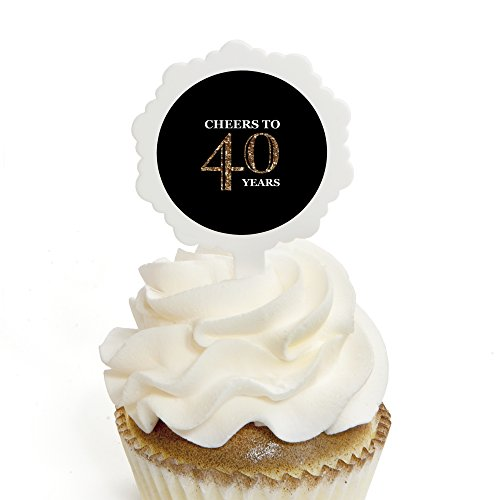 Adult 40th Birthday - Gold - Cupcake Picks with Stickers - Birthday Party Cupcake Toppers - 12 Count