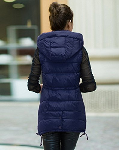 Coat Women's Long Padded Hooded Yiiquan Jacket Vest Loose Sleeveless Navy Quilted Blue 76T4wq