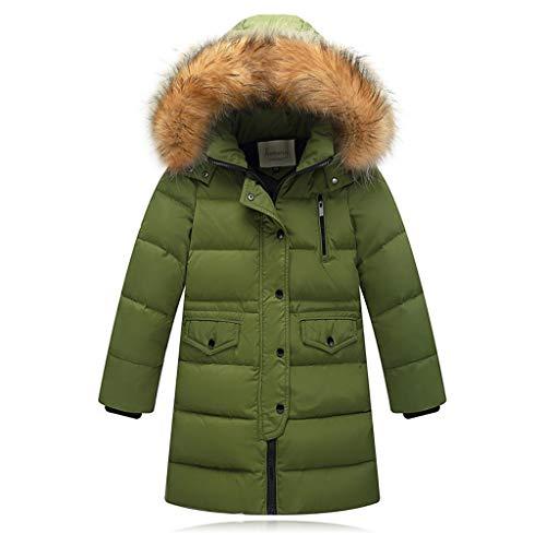 Fineser Kids Girls Boys Long Sleeve Pockets Winter Faux Fur Hooded Parka Down Jacket Coat Puffer Padded Overcoat 2-12Y (Green, 9-11 Years(150)) -