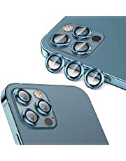Cupecoo Fit for iPhone 12 Pro Max Camera Lens Protector (6.7 inch), HD Tempered Glass Screen Protector Metal Rings Cover for iPhone 12 Pro Max Camera Protector (6.7''), Aluminum Alloy Anti-Scratch