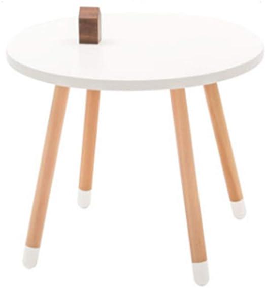 AZWE Mesa y taburete de madera redonda para niños, mesa de estudio ...