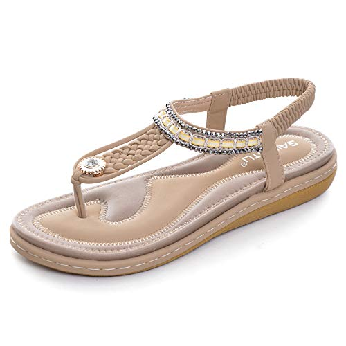 Vintage Metal Leather Thong - Dear Time Bohemia Thong Sandals for Women Summer Bohemia Beach T-Strap Metal Casual Flats Gladiator Shoes Apricot US 9.5