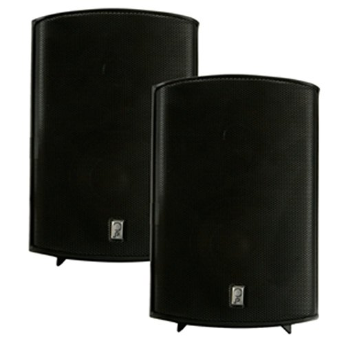 Pair of Black Poly-Planar Marine 100W Compact Box Speakers Consumer Electronics