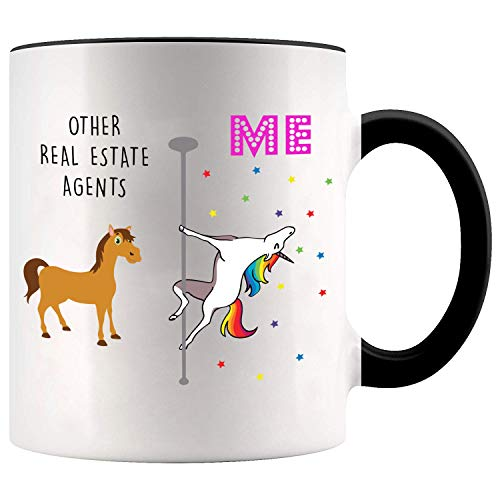 YouNique Designs Real Estate Agent Coffee Mug, 11 Ounces, White, Unicorn Mug (Black Handle)
