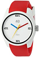 40Nine Men's 'Eclectic' Quartz Plastic and Silicone Casual Watch, Color:Red (Model: 40N4.6R)