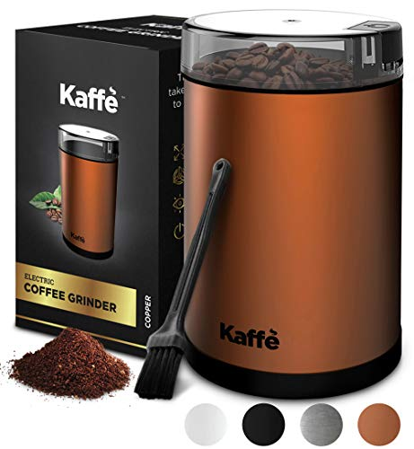 Kaffe Electric Coffee Grinder – Copper – 3oz Capacity with Easy On/Off Button. Cleaning Brush Included!