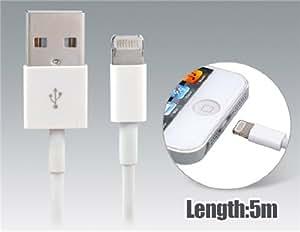 5.0 m Charging Cable for iPhone 5, iPad Mini, iPad 4, iPod Touch 5, iPod Nano 7 (White)