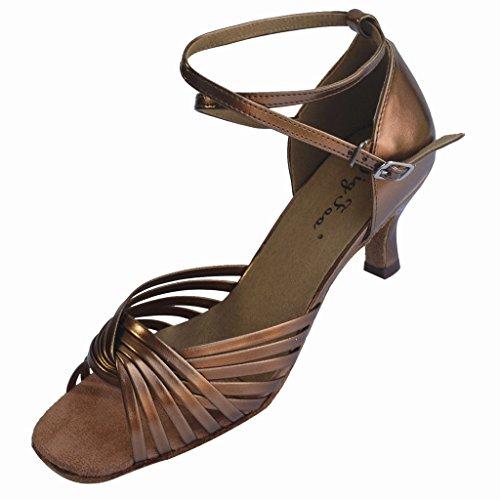 Jig Foo Sandalen offene Latin Salsa Tango Ballroom Dance Schuhe für Frauen mit 7,6cm Ferse Bronze