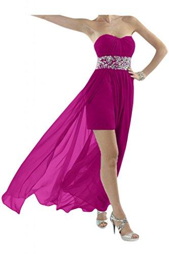 Toscana sposa Chic a forma di cuore cristallo Hi-Lo stanotte Chiffon sposa giovane a lungo per abiti da cocktail Party vestimento viola 42