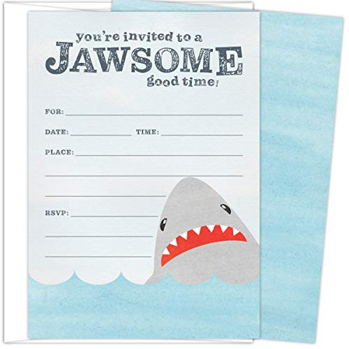 Koko Paper Co Shark Invitations. Set of 25 Fill-In Style Cards and White Envelopes. Perfect for Jawsome Good Times such as Birthdays, Graduations, Baby Showers and Any -
