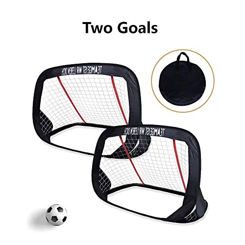 WisHome 4ft Foldable Children Pop-Up Play Goal for Outdoors Portable Square Soccer Goal with Carrying Bag Practice Training Sports Gift Idea for Kids (Set of 2) (Play Goals)