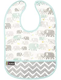 Kushies Cleanbib Waterproof Bib, 12 Months Plus,  Neutral White Elephants