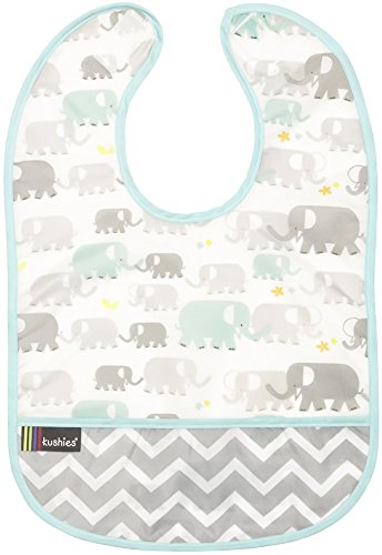 (Kushies Cleanbib Waterproof Feeding Bib with Catch All/Crumb Catcher Pocket. Wipe Clean and Reuse! Lightweight for Comfort, Baby Boys and Girls, Unisex, 12 Months and Up, Neutral White Elephants )
