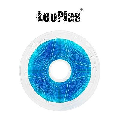 LeoPlas New Store USA Warehouse 1.75mm Transparent Translucent Blue PLA Filament 8 Colors 1Kg 2.2 Pounds FDM 3D Printer Pen Supplies Plastic Printing Material Polylactic Acid