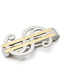 Stylish Two-Tone Gold and Silver Money Clip with Dollar Sign Design