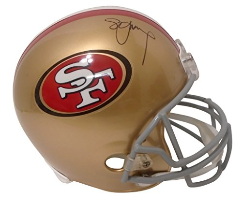 (San Francisco 49ers Steve Young Signed Hand Autographed SF Fortyniners Riddell Full Size Football Helmet with Proof Photo of Signing and COA, Super Bowl XXIX MVP)