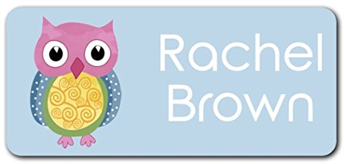 Personalized Name Labels - Cute Customized Designs for Both Babies and Kids - Great for School and Daycare - Easy-to-Apply Stickers Have a Glossy Finish - Waterproof - 48 ct. (Colorful Owl)