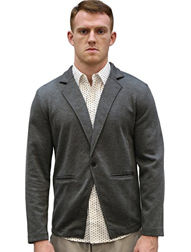 Allegra K Men Notched Lapel Long Sleeve Single Button Closure Blazer