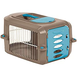 Suncast Portable Dog Crate with Handle for Small and Medium Dogs - Bowl Included - Stylish and Durable Portable Pet Carrier - Dogs up to 30 lbs. - Brown and Light Blue