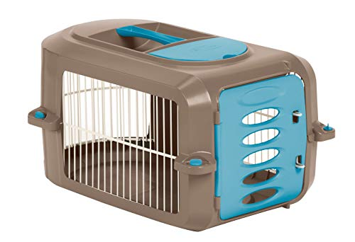 (Suncast Portable Dog Crate with Handle for Small and Medium Dogs - Bowl Included - Stylish and Durable Portable Pet Carrier - Dogs up to 30 lbs. - Brown and Light Blue)