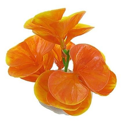 Amazon.com : eDealMax Ventilador plástico en Forma de hoja plantas artificiales acuario, Amarillo/Naranja : Pet Supplies