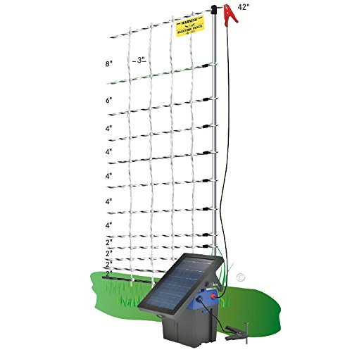 FiberTuff Support Posts /& Fence Tester 42 H x 100 L Solar Fence Energizer Premier 42 PoultryNet Plus Starter Kit Includes White PoultryNet Plus Net Fence Double Spiked