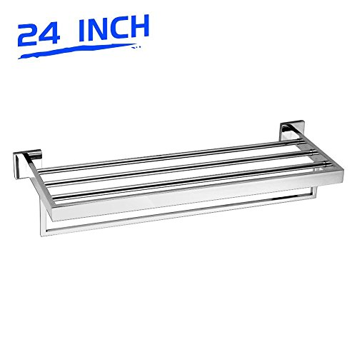 LuckIn Bathroom Towel Shelf, Wall Mounted Towel Rack Stainless Steel Bath Towel Bar Rod, 24 Inch Towel Holder Organizer for Hotel, Polished Finish by LuckIn