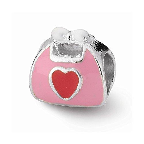 Enameled Purse Pink (Pink/Red Enameled Purse Charm Bead Fits Pandora Chamilia Biagi Bracelet)