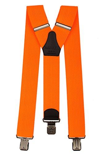 Ranger Hosenträger für Herren Y-förmige 5cm breit verstellbar und elastisch mit einem sehr starken Clips (leuchtend orange)