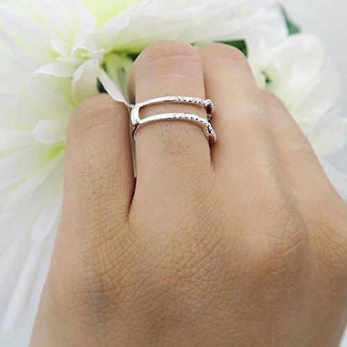 Dazzlingrock Collection 0.25 Carat (ctw) 10K White Diamond Wedding Band Enhancer Guard Ring 1/4 CT, White Gold, Size 7.5 by Dazzlingrock Collection (Image #7)