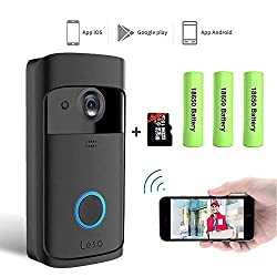 Leso Smart Wireless Wifi Video Doorbell Hd Security Camera With Pir Motion Detection Night Vision Two Way Talk And Real Time Video Suitable 16gb Memory 3 Batteries