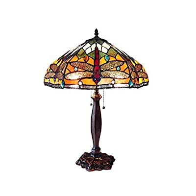 "Chloe Lighting CH15042OD18-TL2 Pantala Tiffany-Style Dragonfly Table Lamp with 18"" Shade"